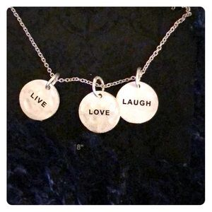 """Jewelry - Silver plated """"Live, Love, Laugh"""" necklace."""